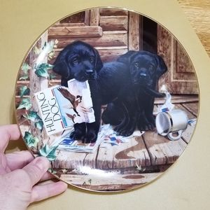 "1987 ""Puppy Playtime"" Porcelain Plate by Jim Lamb"